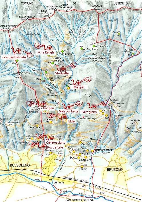 cartina delle borgate di Chianocco. Cliccate sui nomi delle singole borgate per vedere delle foto.
