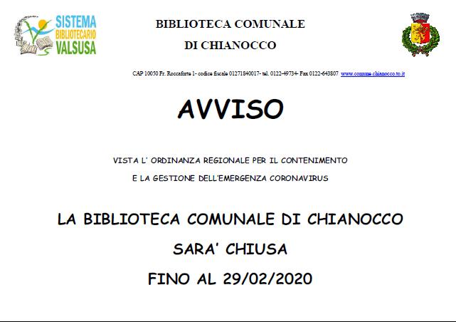 Avviso di Chiusura Biblioteca Comunale fino al 29/02/2020