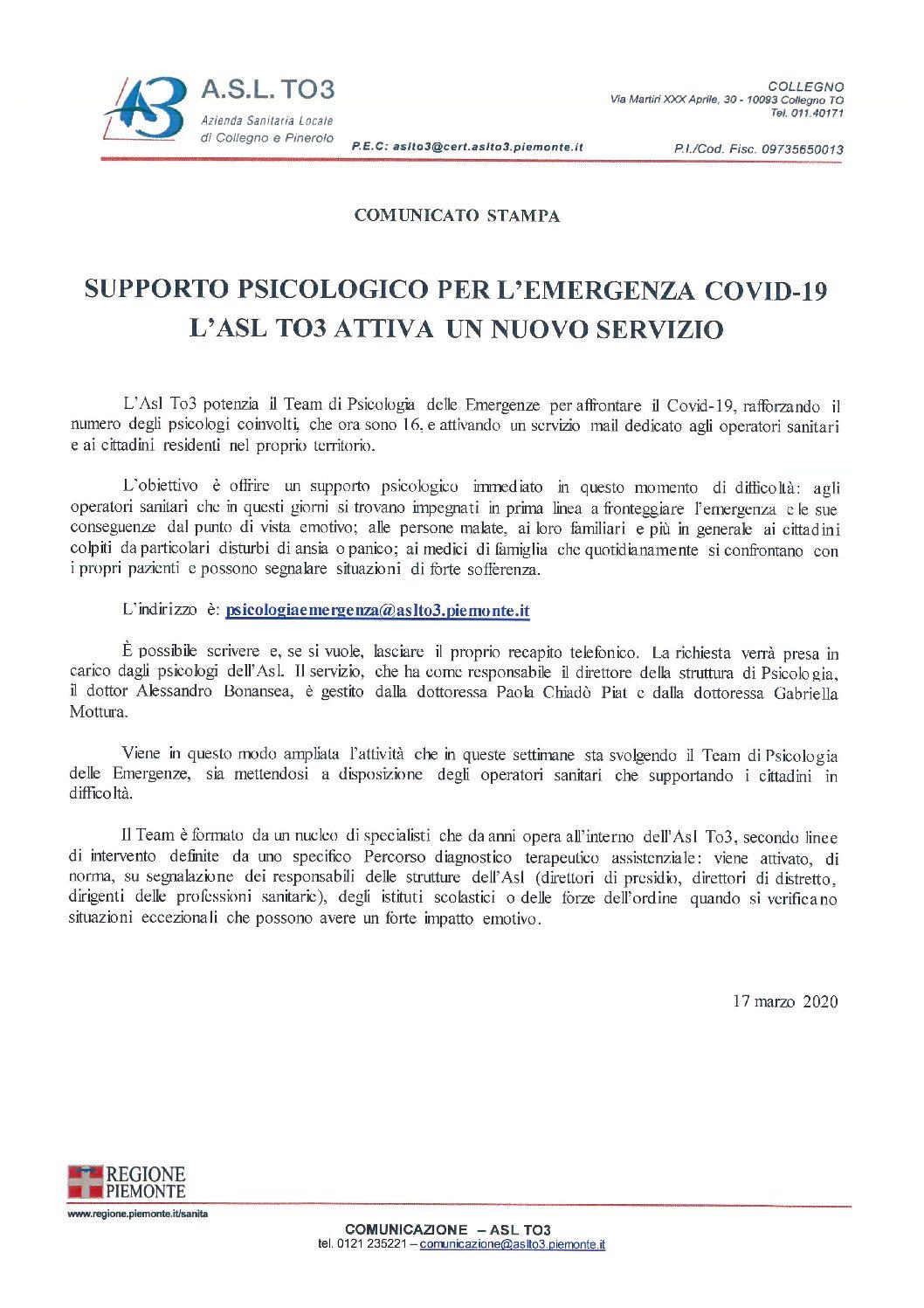 ASL TO3 – SUPPORTO PSICOLOGICO