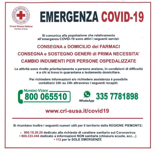 CROCE ROSSA ITALIANA: SERVIZI PER EMERGENZA COVID-19